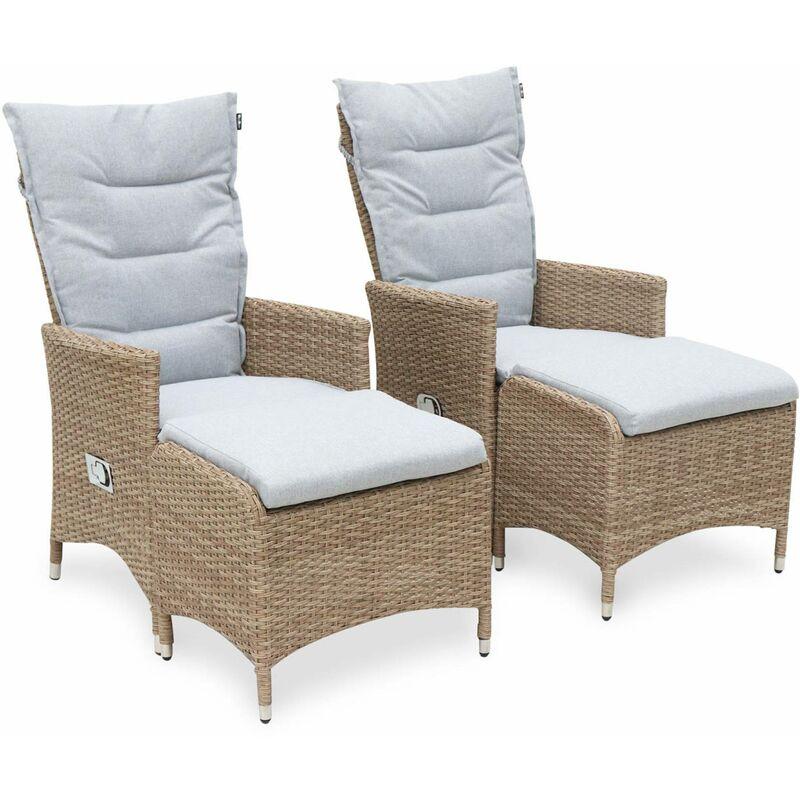 2 fauteuils de jardin en résine beige avec repose-pieds et coussins gris clair – CAPRI - fauteuil inclinable Beige / Gris clair