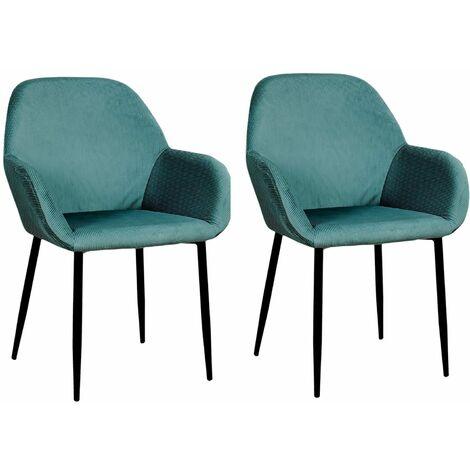 2 Fauteuils de table design velours Giulia - Bleu canard - Vert
