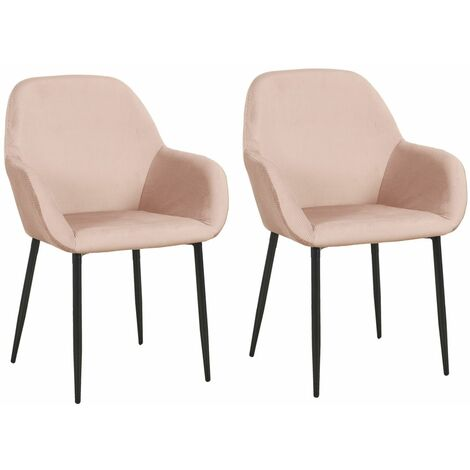 2 Fauteuils de table design velours Giulia - Rose - Rose