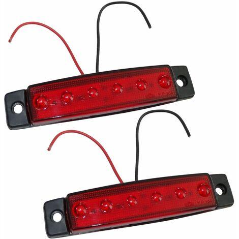 2 feu de gabarit à 6 LED 12V 97/21mm couleur rouge