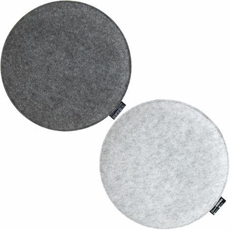 2 Filz Sitzkissen Rund Ø 35x3 cm Stuhlkissen Sitzauflage Weich 2-farbig Grau
