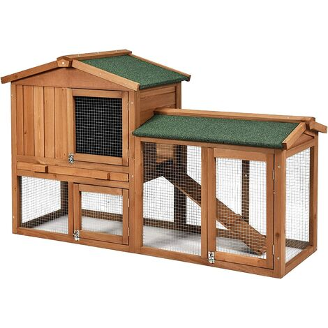 """main image of """"2-Floor Large Chicken Coop Wooden Rabbit Hutch W/Removable Tray &Ramp Waterproof"""""""