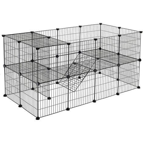 2-Floor Metal Pet Playpen, 36 Grid Panels, Customisable Cage Enclosure for Small Animals, Guinea Pigs, Hamster runs, Rabbit Hutches, Includes Mallet, Indoor Use 143 x 73 x 71 cm, White/Black