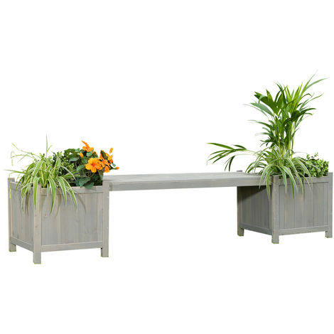 2 flower boxes with garden bench in grey wood garden bench flower box wooden bench