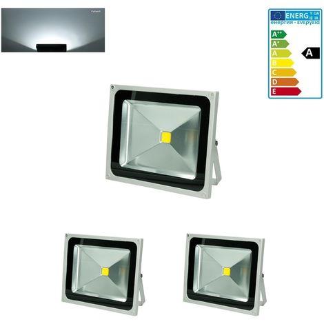 2 Foco proyector LED reflector faro lámpara iluminación 50W blanco frío exterior