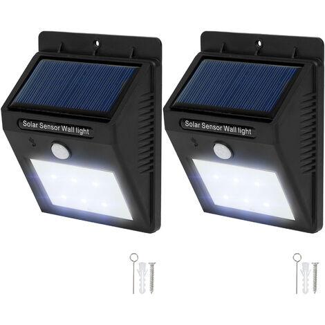 2 focos solares LED con sensor de movimiento - lámparas con detector de movimiento, luces LED con detector de presencia, foco solar exterior para jardín - negro