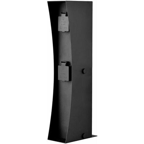 2-fold plug box exterior jardín distribuidor de energía black terrazas energía pilar LEDINO 11790000001025