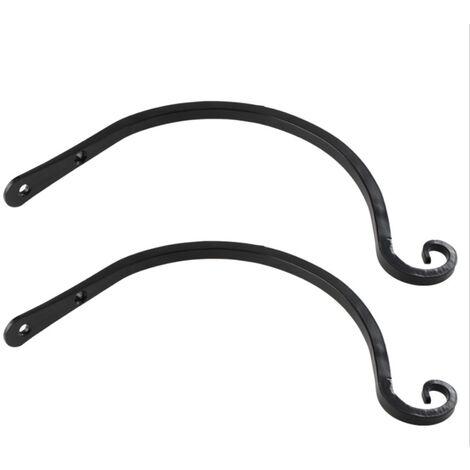 2 ganchos para colgar de 8 pulgadas, gancho para colgar en la pared de hierro metalico,Negro