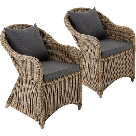 2 Garden chairs luxury rattan + cushions - outdoor seating, garden seating, rattan chair