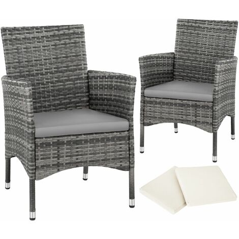 """main image of """"2 garden chairs rattan + 4 seat covers model 1 - outdoor chairs, rattan garden chairs, garden seating"""""""
