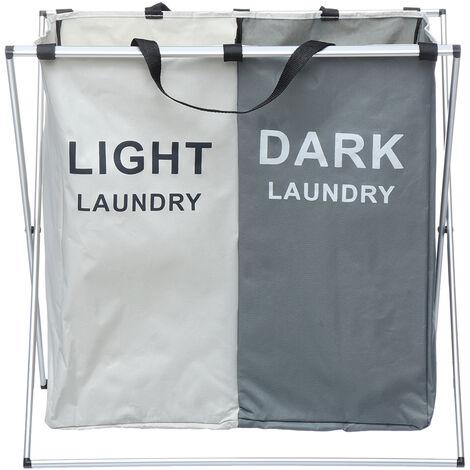 2 Grid Dirty Clothes Storage Basket Organizer Bathroom Home Laundry Hamper