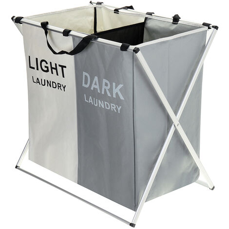 2-grid Laundry Basket Trash Bag Laundry Garment Wash Collapsible Gray + White Mohoo