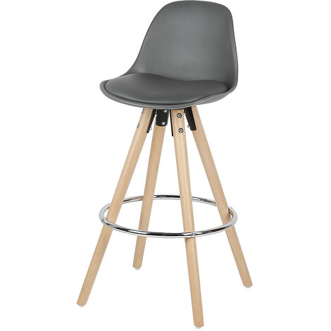 2 high gray bar stools with outer iron ring