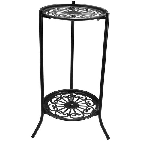 2 Holder Metal Plant Pot Stand Flower Display Shelf Garden Patio Home Outdoor, Black