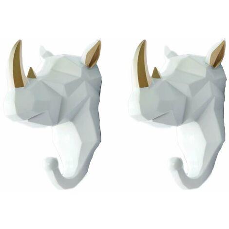 "main image of ""2 hook hook hook animal hook key ring key ring (white rhinoceros"""