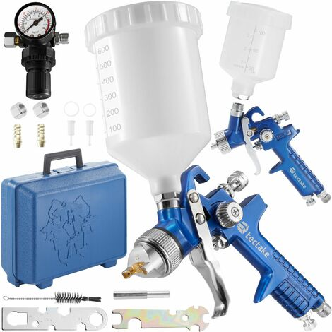 2 HVLP paint spray guns (0.8+ 1.3 mm) + case - paint spray gun, spray paint, car spray paint - blue