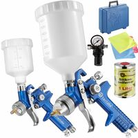 2 HVLP paint spray guns (0.8+ 1.3 mm) + mask + silicone remover - paint spray gun, spray gun, paint gun - blue