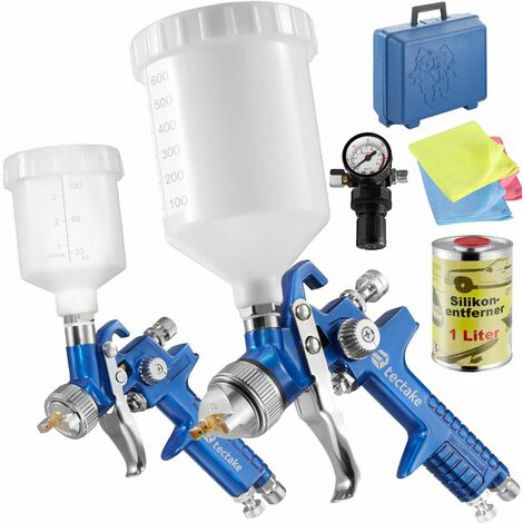2 HVLP paint spray guns (0.8+ 1.3 mm) + silicone remover - paint spray gun, spray gun, paint gun - blue
