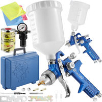 2 HVLP paint spray guns (1.0+ 1.7 mm) + mask + silicone remover - paint spray gun, spray paint, car spray paint - blue