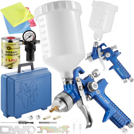 2 HVLP paint spray guns (1.0+ 1.7 mm) + silicone remover - paint spray gun, spray paint, car spray paint - blue