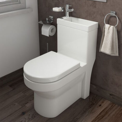 2 in 1 Compact Basin Close Coupled Toilet Combo Space Saver Cloakroom Unit with Tap & Waste