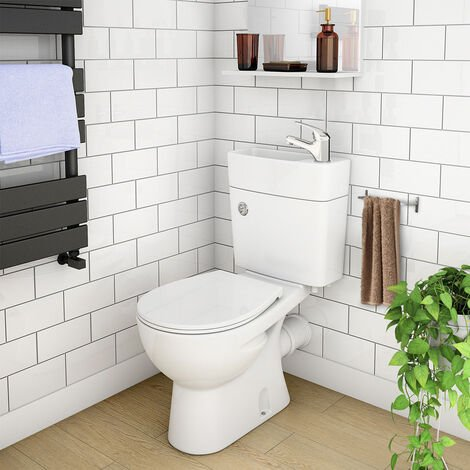 """main image of """"2 in 1 Compact Close Couple Toilet and Basin Combo Space Saver Tap and Waste Set"""""""