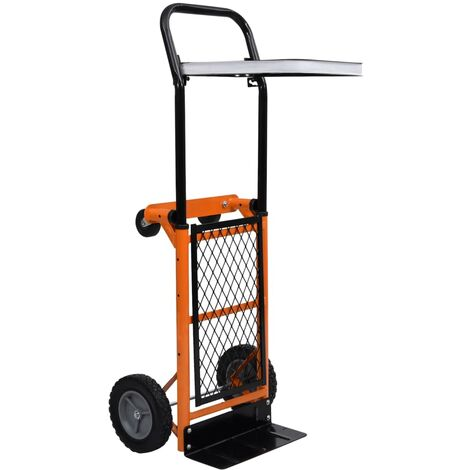 2-in-1 Foldable Platform Hand Truck with Leaf Bag Support