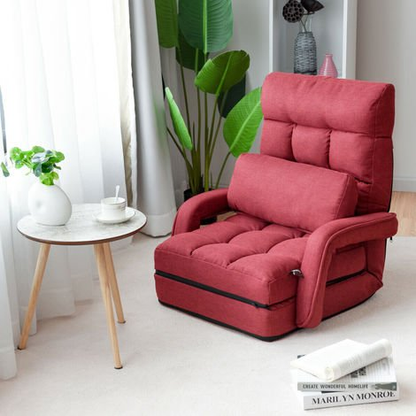 2 IN 1 Folding Lazy Sofa Lounger Floor Gaming Armchair Bed Recliner Adjustable Red
