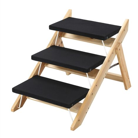 2-in-1 Folding Pet Stairs Steps Ramp for Large/Small Dogs/Cats Wooden 3 Steps Pet Access Stairs/Ladders
