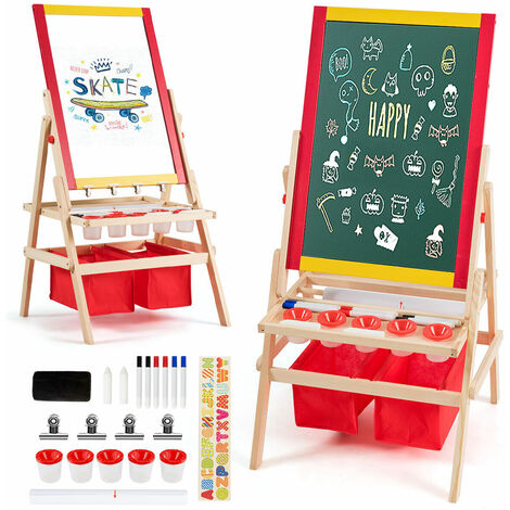 2 IN 1 Kids Art Easel Double Sided Magnetic Chalk White Green Board Storage Bags