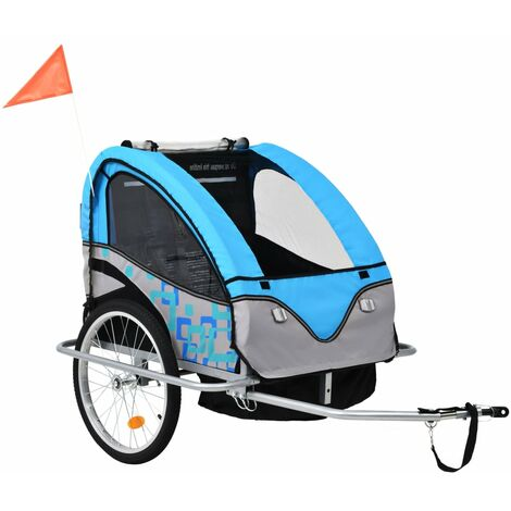 2-in-1 Kids' Bicycle Trailer & Stroller Light Blue and Grey