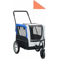 2-in-1 Pet Bike Trailer & Jogging Stroller Grey and Blue