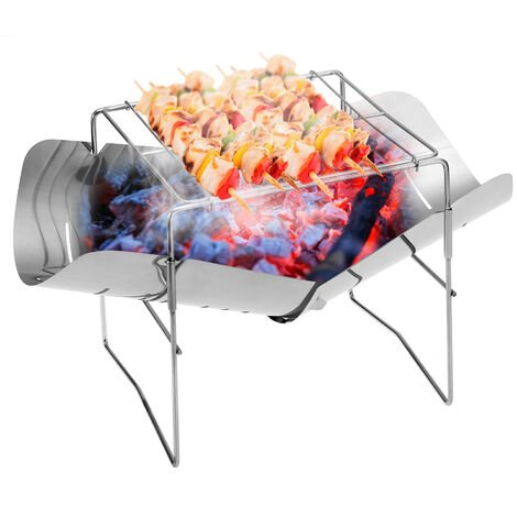 """main image of """"2-in-1 Portable Folding Stainless Steel Barbecue Grill Camp Firepit Outdoor Camping Backpakcing Wood Burning Stove,model:Silver"""""""