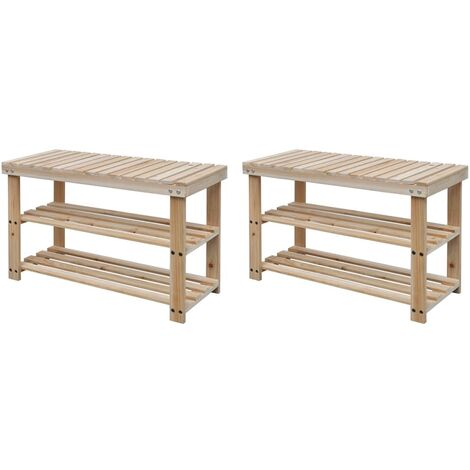 2-in-1 Shoe Rack with Bench Top 2 pcs Solid Wood - Brown
