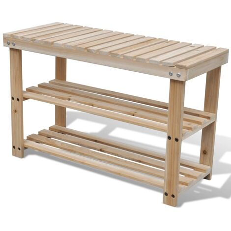 2-in-1 Shoe Rack with Bench Top Solid Fir Wood