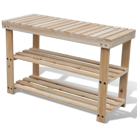 2-in-1 Shoe Rack with Bench Top Solid Fir Wood - Brown