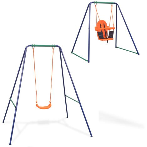 2-in-1 Single Swing and Toddler Swing Set by Freeport Park - Orange