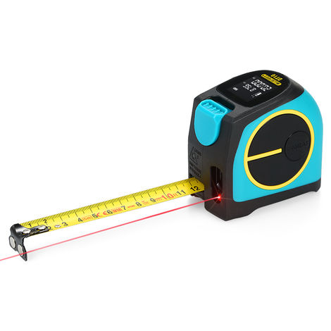 2-in-1 tape measure laser rangefinder with built-in lithium battery