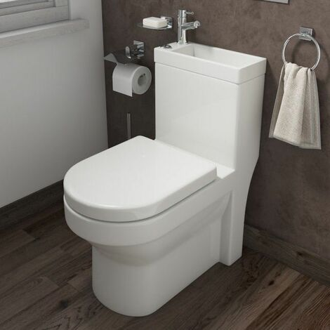 2 in 1 Toilet Basin Combo Combined Toilet and Sink Space Saving Cloakroom Unit