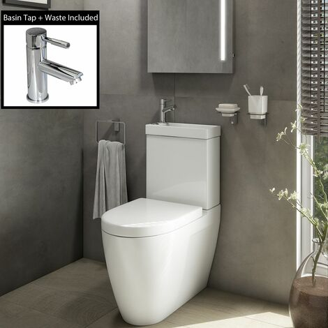 2 in 1 Toilet Basin Combo Combined Toilet WC & Sink Space Saving Cloakroom Unit