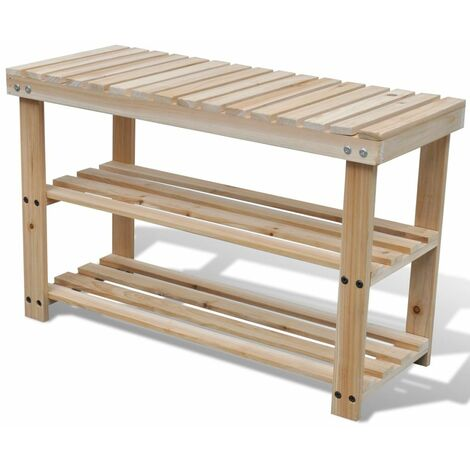 2-in-1 Wooden Shoe Rack With Bench Top Durable VDTD08520