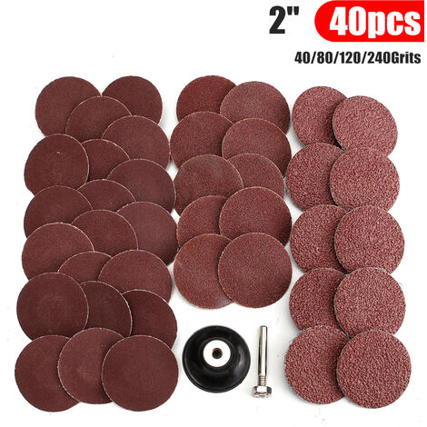 2 inch 40 pcs 40/80/120/240 grains R type sandpaper sanding polishing pad polishing abrasive wheel plate plaque + Mohoo locking mandrel