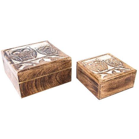 2 Joyeros de Madera Natural con búhos tallados