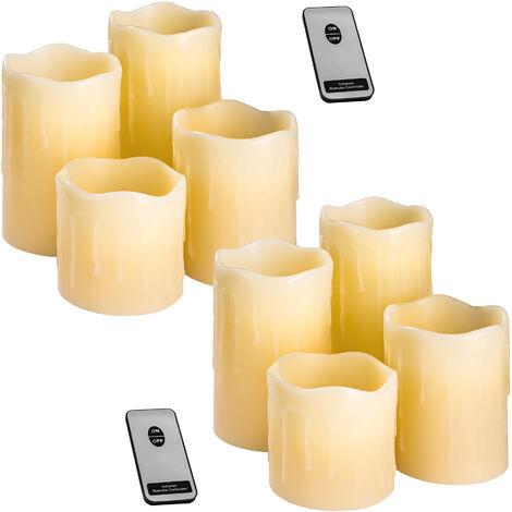 2 juegos 4 velas de luces LED con revestimiento de cera natural y mando a distancia - vela eléctrica con mando, vela artificial con luz led para exteriores, vela con bombilla led con cera exterior - blanco