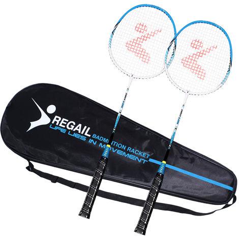 2 jugador raqueta de badminton Conjunto de aluminio raqueta de badminton con la cubierta del bolso, azul