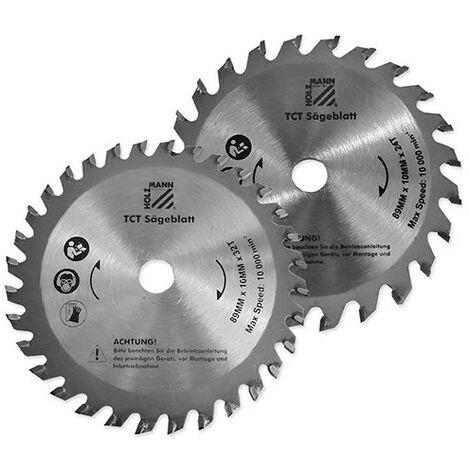 2 lames de scie carbure D. 89 x Al. 10 mm x Z24 et Z32 pour TAS89M - Holzmann