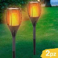 2 Lampade Giardino Effetto Fuoco 59cm Ricarica Solare Fiaccola Torcia Luce LED