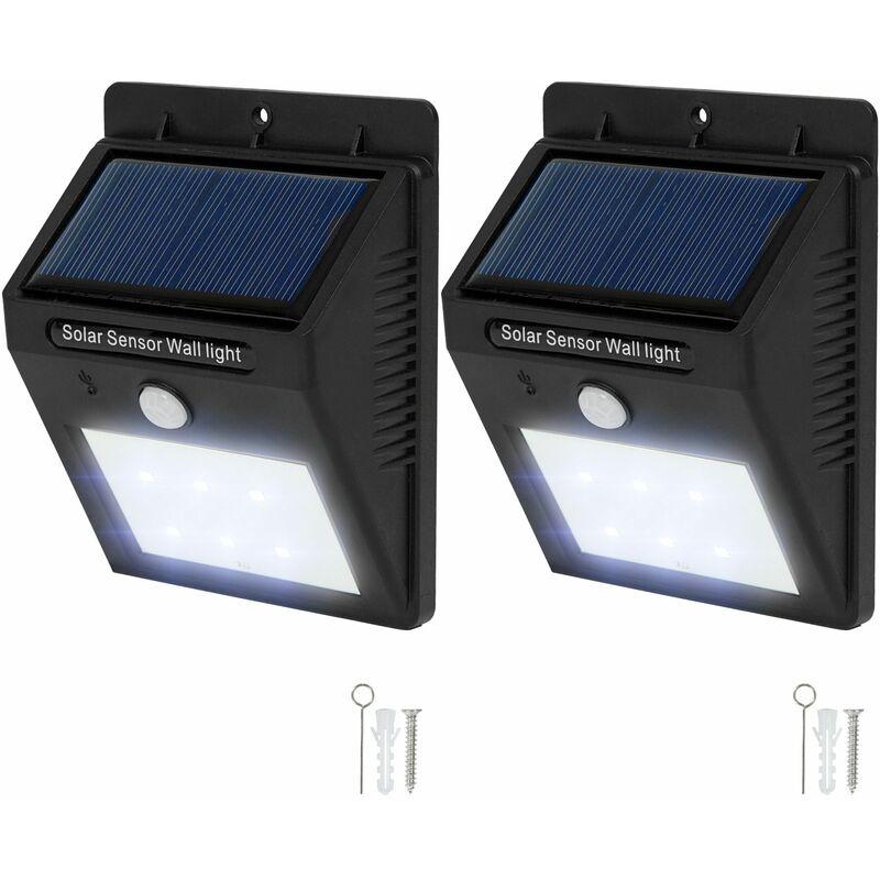 2 lampade LED a muro, a energia solare con sensore di movimento - faretti led, faretti a led, faretti a led da incasso - nero