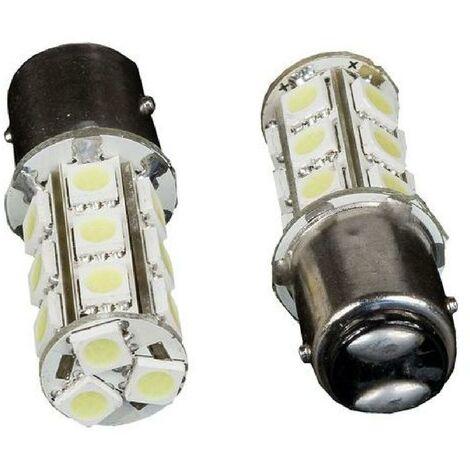 2 LAMPE BLANCHE POUR FEUX DE STOP OU FEUX DE POSITION 18 LED BAY15D P21-5W Generique