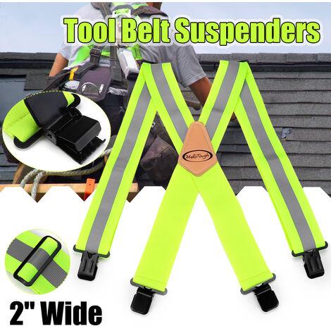 2 '' Large Heavy Duty Men Bolsillo para herramientas Tirantes Cinturón para pantalones Correa para el hombro ajustable Verde fluorescente LAVENTE
